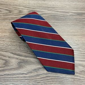 Jos A Bank Red, Blue, White & Green Stripe Tie
